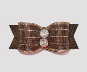 "#2172 - 5/8"" Dog Bow - Razzle Dazzle, Chocolate Brown"