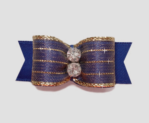 "#2173 - 5/8"" Dog Bow - Razzle Dazzle, Royal Blue"