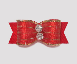 "#2185 - 5/8"" Dog Bow - Razzle Dazzle, Candy Apple Red"
