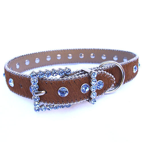 #8034 - Brown/Sky Blue Swarovski Crystal Collar