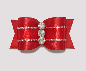 "#A7172 - 7/8"" Dog Bow - Gorgeous Showy Red w/Silver, Rhinestones"