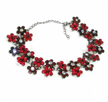 #NL117 - Sparkling Red Crystal Daisy Necklace