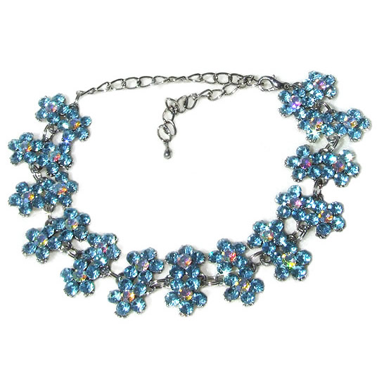 #NL118 - Sparkling Aqua Blue Crystal Daisy Necklace