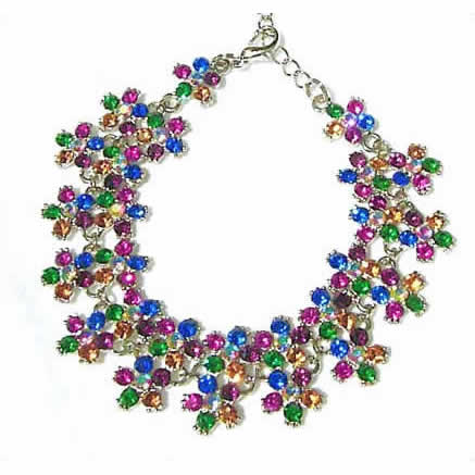 #NL119 - Sparkling Multi-Colored Crystal Daisy Necklace
